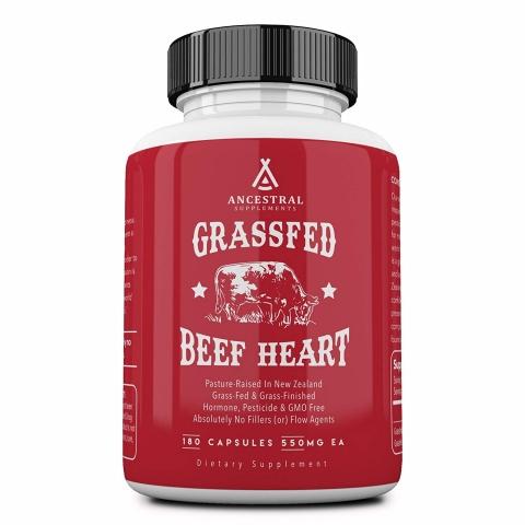 Ancestral Supplements - Grass fed Bovine Heart - 180 capsules